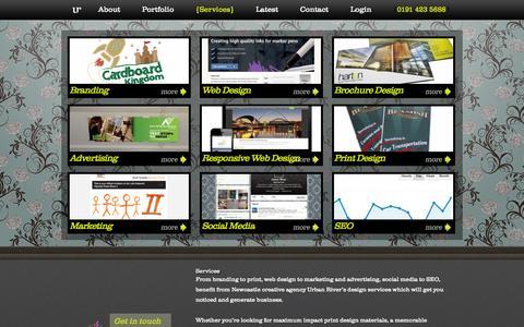Screenshot of Services Page urbanriver.com - Web and Graphic Design North East - captured Sept. 23, 2014