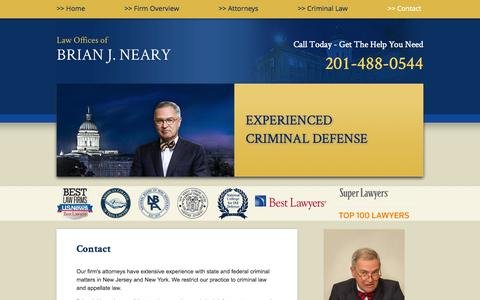 Screenshot of Contact Page Maps & Directions Page nearylaw.com - Contact | Law Offices of Brian J. Neary | Hackensack, New Jersey - captured Oct. 22, 2014