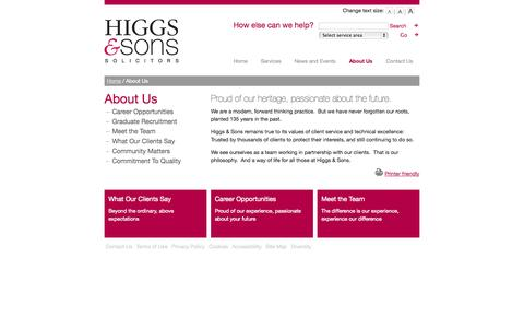 Screenshot of About Page higgsandsons.co.uk - About Higgs & Sons :: Higgs & Sons - captured Oct. 3, 2014