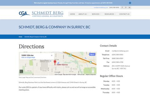 Screenshot of Contact Page Maps & Directions Page schmidtberg.com - Schmidt, Berg and Company Certified General Accountants Schmidt, Berg & Company in Surrey, BC › Schmidt, Berg and Company Certified General Accountants - captured Oct. 23, 2014