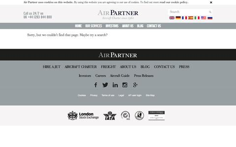 Screenshot of Press Page airpartner.com - Page not found | Air Parner - captured Oct. 1, 2015