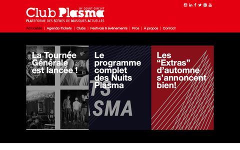 Screenshot of Press Page clubplasma.be - Club Plasma – Plateforme des Scènes de Musiques Actuelles Wallonie-Bruxelles - captured Nov. 5, 2018