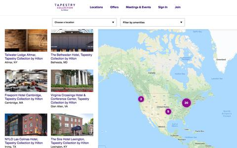 Screenshot of Locations Page hilton.com - Tapestry by Hilton Brand Locations Page - captured Sept. 2, 2019