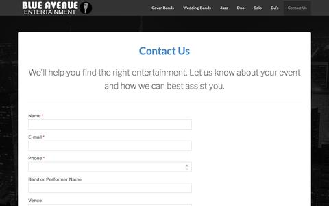 Screenshot of Contact Page blueavenue.com.au - Live Band Entertainment Melbourne | Bands For Hire | Contact Us - captured Aug. 18, 2019