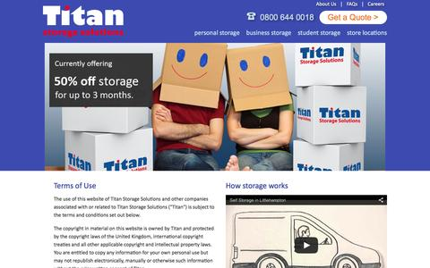 Screenshot of Terms Page titanstorage.co.uk - Titan Storage Solutions - captured Jan. 13, 2016
