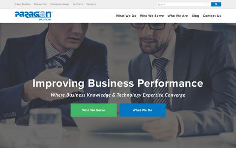 Screenshot of Home Page consultparagon.com - Business Process Management Consulting Firm - Paragon Solutions - captured Sept. 23, 2015