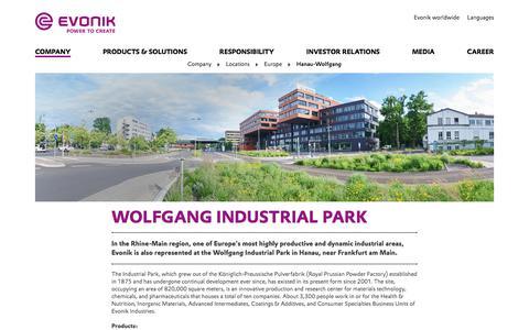 Evonik Industries - Specialty chemicals - Site Hanau-Wolfgang, Germany - Evonik Industries AG