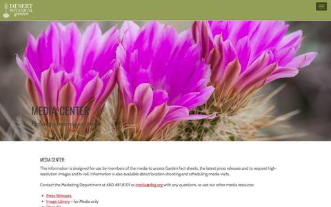 Screenshot of Press Page dbg.org - Media Center | Desert Botanical Garden - captured Oct. 9, 2017