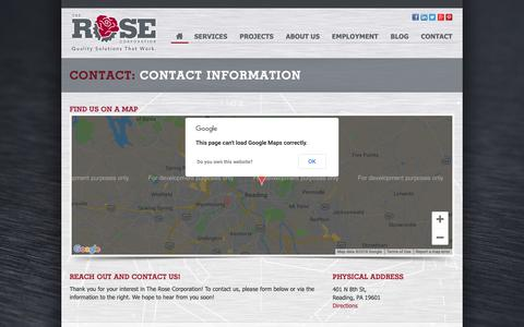 Screenshot of Contact Page therosecorp.com - Contact: Contact Information - The Rose Corporation - captured Oct. 20, 2018