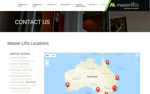 Screenshot of Locations Page masterlifts.com.au - Locations for Master Lifts - Australia Wide - captured Sept. 20, 2018