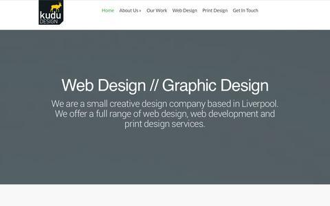 Screenshot of Home Page kudu-design.com - Kudu Design   Web design + Graphic Design Kudu Design - web design // web development // print design - captured Sept. 30, 2014