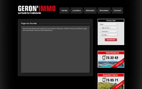 Screenshot of Locations Page geronimmo.nc - Non trouvée - captured Sept. 29, 2014