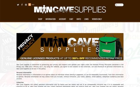 Screenshot of Privacy Page mancavesupplies.com.au - Man Cave Supplies | Privacy Policy - captured July 27, 2018