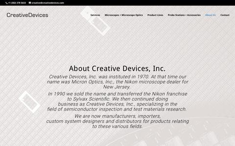 Screenshot of About Page creativedevices.com - About Us | Creative Devices - captured Sept. 8, 2017
