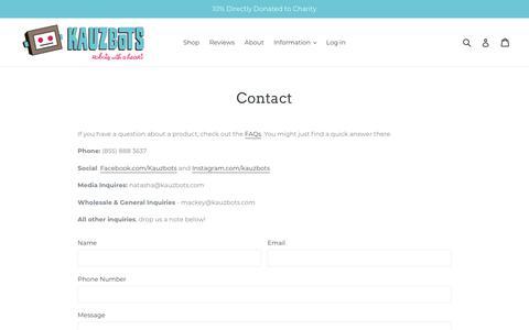 Screenshot of Contact Page kauzbots.com - Contact Us | Kauzbots | Robots with a Heart                      – KAUZBOTS® - captured Sept. 20, 2018