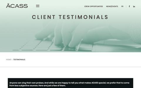 Screenshot of Testimonials Page acass.com - Testimonials - ACASS - captured Nov. 6, 2018