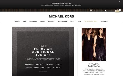 Screenshot of Home Page michaelkors.com - Michael Kors: Designer handbags, clothing, watches, shoes, and more - captured Dec. 23, 2015