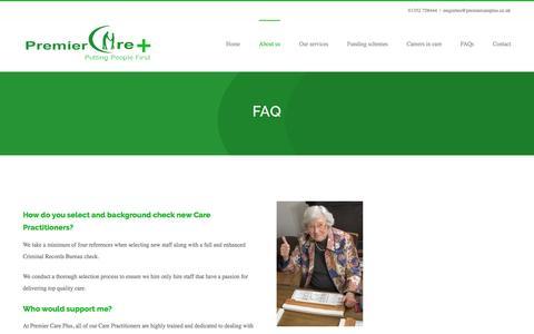 Screenshot of FAQ Page premiercareplus.co.uk - FAQ – Premier Care Plus - captured Nov. 9, 2016