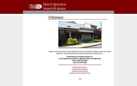 Screenshot of Maps & Directions Page hrhr-inc.com - Health Research of Hampton Roads - captured Nov. 1, 2014