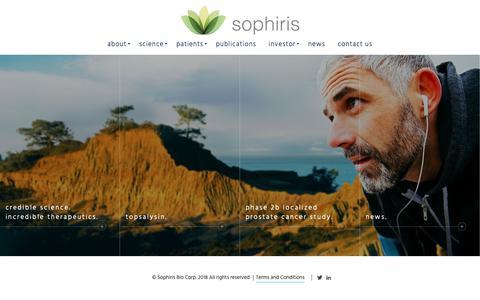 Screenshot of Home Page sophirisbio.com - Home - Sophiris - captured Oct. 19, 2018