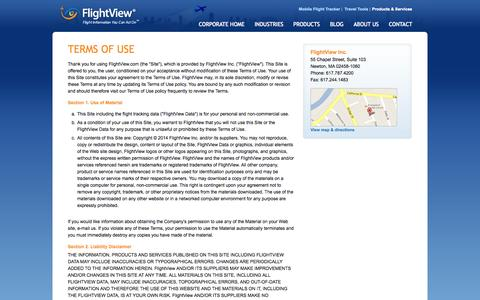 Screenshot of Terms Page flightview.com - FlightView Inc. - Terms of Use - captured Sept. 18, 2014