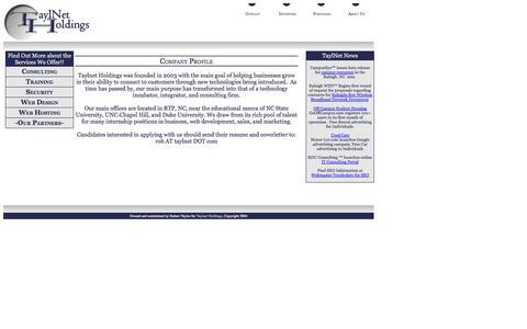Screenshot of About Page taylnet.com - TaylNet Holdings - captured Oct. 10, 2014