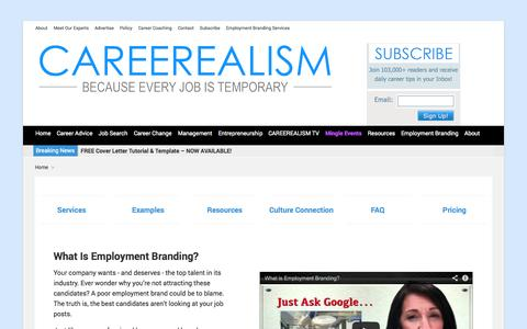 Screenshot of Services Page careerealism.com - Employment Branding Services   CAREEREALISM - captured Oct. 28, 2014