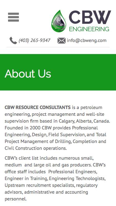 Screenshot of About Page  cbwresourceconsultants.com - About Us | CBW Engineering