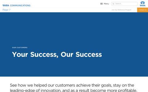 Screenshot of Case Studies Page tatacommunications.com - Our Customers | Tata Communications - captured Dec. 18, 2019