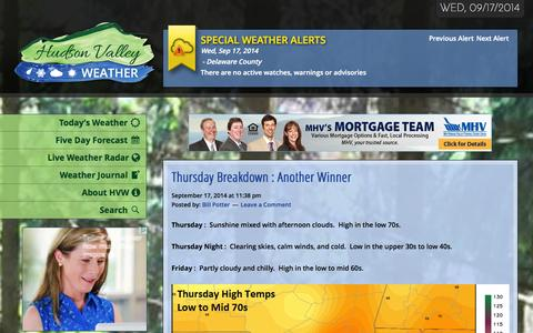 Screenshot of Home Page hudsonvalleyweather.com - Hudson Valley Weather - The Most Accurate Weather Source in the Valley - captured Sept. 19, 2014