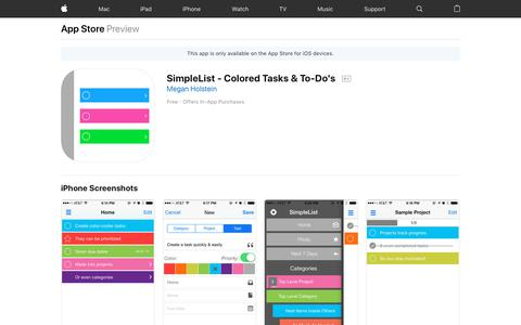 Screenshot of iOS App Page apple.com - SimpleList - Colored Tasks & To-Do's on the AppStore - captured Nov. 17, 2018