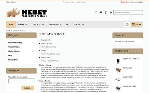 Screenshot of Support Page kebet.com.au - Customer Service - captured Feb. 12, 2016