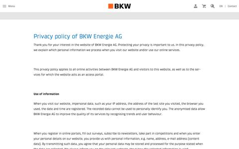 Screenshot of Privacy Page bkw.ch - BKW: Privacy policy - captured Oct. 9, 2017
