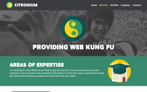 Screenshot of Services Page citronium.com - Citronium - Software and mobile apps development. Services. - captured Sept. 29, 2014