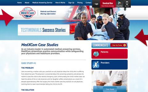 Screenshot of Case Studies Page medxcom.com - Medical answering service, secure texting, medical app,secure messaging, Call recordings,Medical Social Network, MedXCom by Giffen Solutions , eprescription - captured Oct. 27, 2014