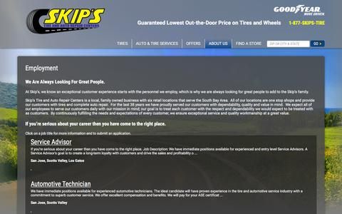Screenshot of Jobs Page skipstire.com - Skip's Tire & Auto Repair Centers - Jobs - captured Feb. 27, 2016