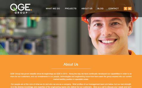 Screenshot of About Page qge.com.au - About Us - QGE Group - captured Sept. 25, 2018