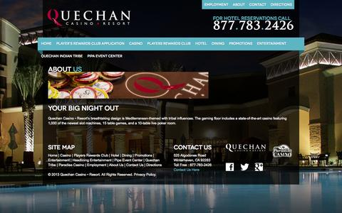 Screenshot of About Page playqcr.com - About Us | Quechan Casino Resort - captured Oct. 3, 2014