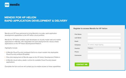 Screenshot of Landing Page mendix.com - Mendix for HP Helion: Contact Us - captured Nov. 17, 2016