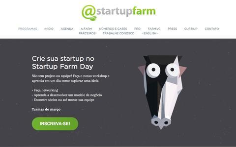 Screenshot of Home Page startupfarm.com.br - Startup Farm - Aceleradora de startups - captured Feb. 23, 2016