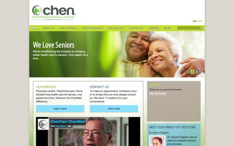 Screenshot of Home Page chenmedicalcenters.com - Home - Chen Medical Centers - captured Jan. 26, 2015