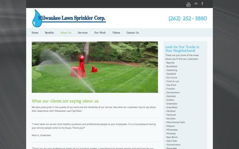 Screenshot of Testimonials Page milwaukeelawnsprinkler.com - Testimonials   Milwaukee Lawn Sprinkler - captured Oct. 9, 2014