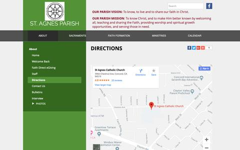 Screenshot of Maps & Directions Page stagnesparish.net - St. Agnes - Directions - captured Oct. 19, 2018