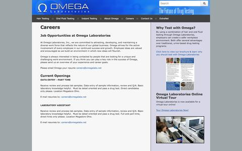 Screenshot of Jobs Page omegalabs.net - Employer Drug Testing Omega Careers - Omega Laboratories - captured Dec. 2, 2016