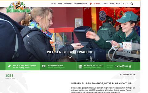 Screenshot of Jobs Page bellewaerde.be - Jobs | Bellewaerde - captured July 3, 2016