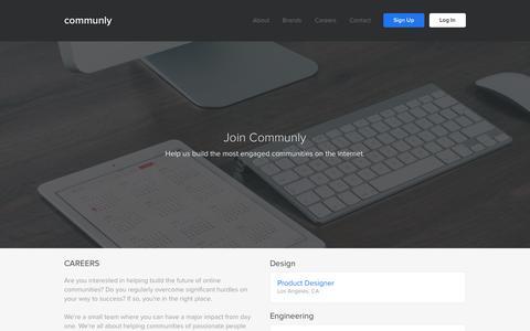 Screenshot of Jobs Page communly.com - Communly | Careers - captured Dec. 10, 2015