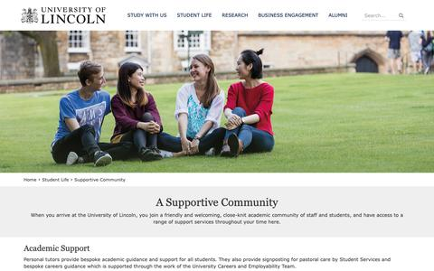 Screenshot of Support Page lincoln.ac.uk - Supportive Community | University of Lincoln - captured Sept. 30, 2018