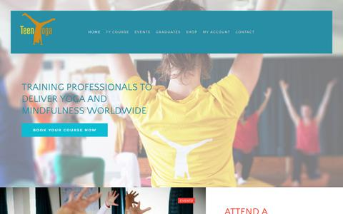 Screenshot of Home Page teenyoga.com - Teaching Yoga and Mindfulness to Teens - TeenYoga - captured Oct. 20, 2017