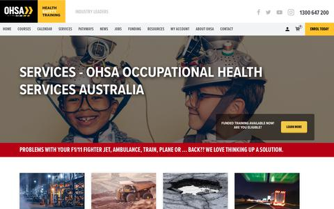 Screenshot of Services Page ohsa.com.au - Services - OHSA Occupational Health Services Australia - captured Feb. 3, 2018
