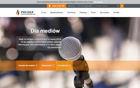 Screenshot of Press Page psgaz.pl - Dla mediów - captured Feb. 12, 2016